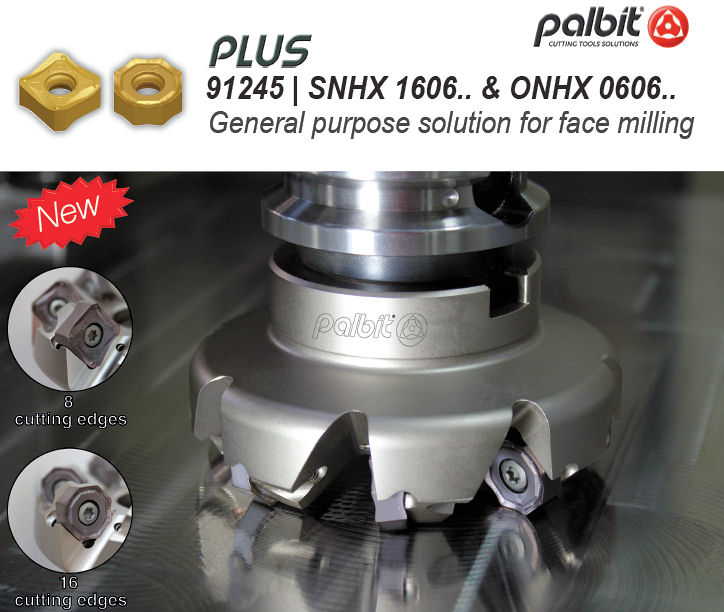 Новата серия твърдосплавни  пластини PLUS 91245-  за челно фрезоване -45⁰